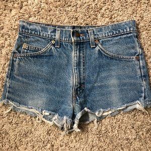 High waist, distressed, Levi's shorts.